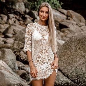 New Sexy Crochet Open Back Swim Cover Up Dress